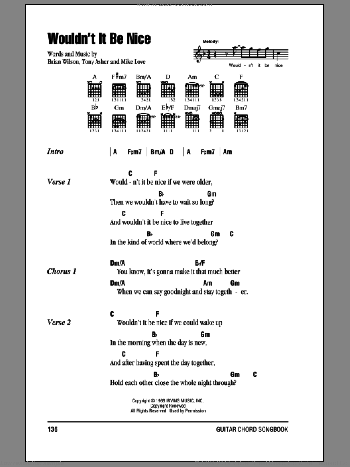 Wouldn't It Be Nice sheet music for guitar (chords, lyrics, melody) by Tony Asher