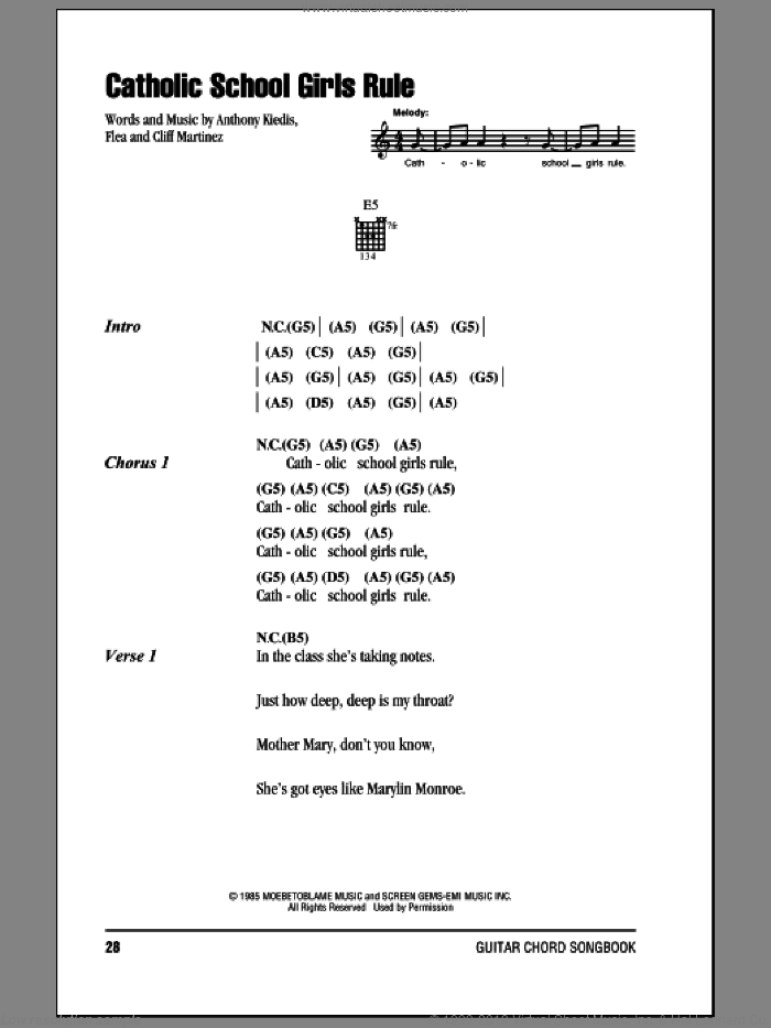 Catholic School Girls Rule sheet music for guitar (chords) by Red Hot Chili Peppers and Cliff Martinez, intermediate. Score Image Preview.