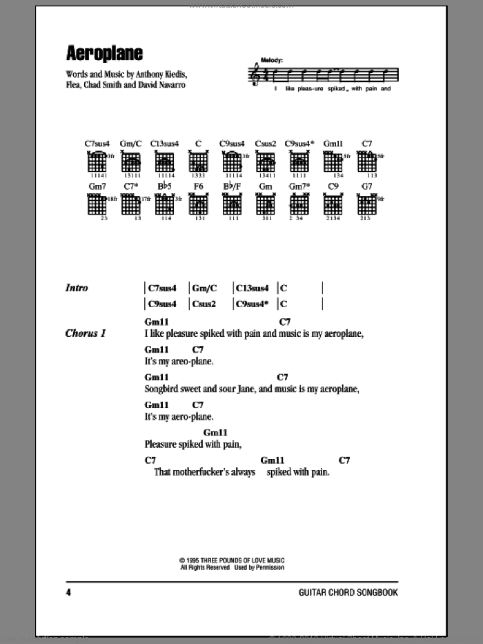 Aeroplane sheet music for guitar (chords) by Red Hot Chili Peppers. Score Image Preview.