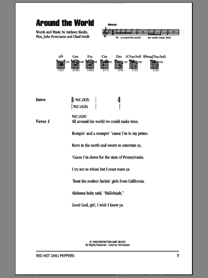 Around The World sheet music for guitar (chords) by Red Hot Chili Peppers, Anthony Kiedis, Chad Smith, Flea and John Frusciante, intermediate. Score Image Preview.