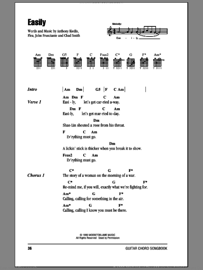 Easily sheet music for guitar (chords) by Red Hot Chili Peppers, intermediate guitar (chords). Score Image Preview.