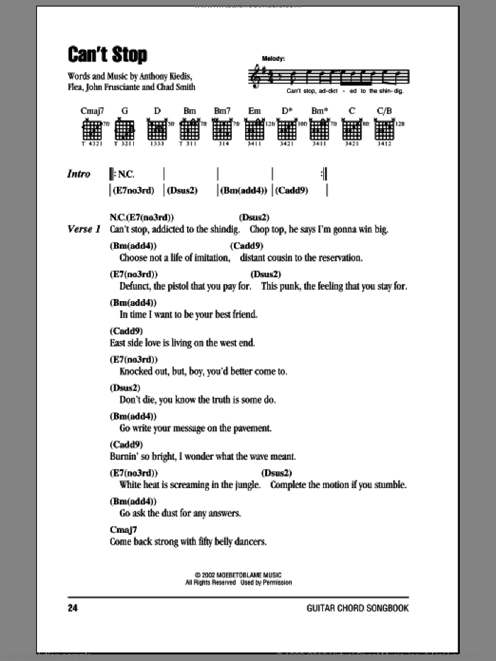 Can't Stop sheet music for guitar (chords) by Red Hot Chili Peppers, Anthony Kiedis, Chad Smith, Flea and John Frusciante, intermediate. Score Image Preview.