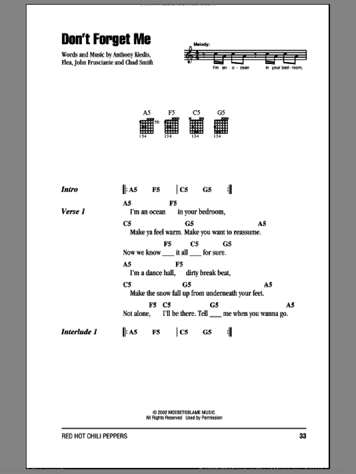 Don't Forget Me sheet music for guitar (chords, lyrics, melody) by John Frusciante