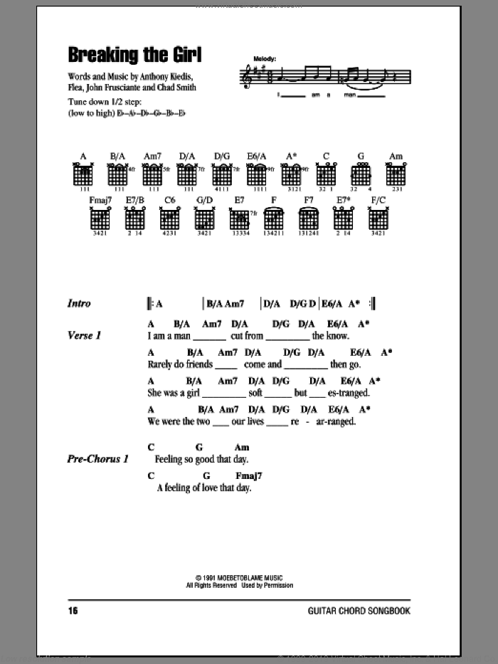 Breaking The Girl sheet music for guitar (chords, lyrics, melody) by John Frusciante