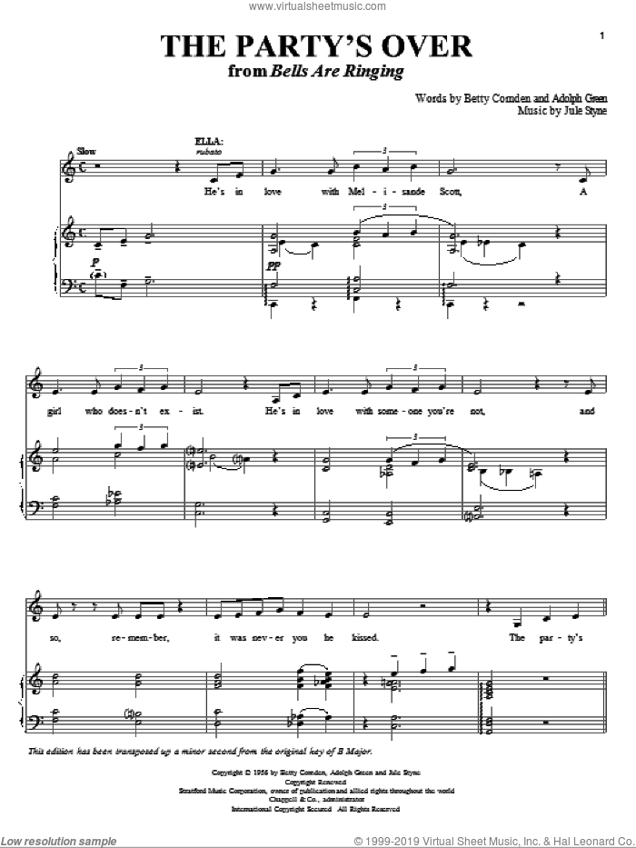 The Party's Over sheet music for voice and piano by Betty Comden, Adolph Green and Jule Styne, intermediate skill level