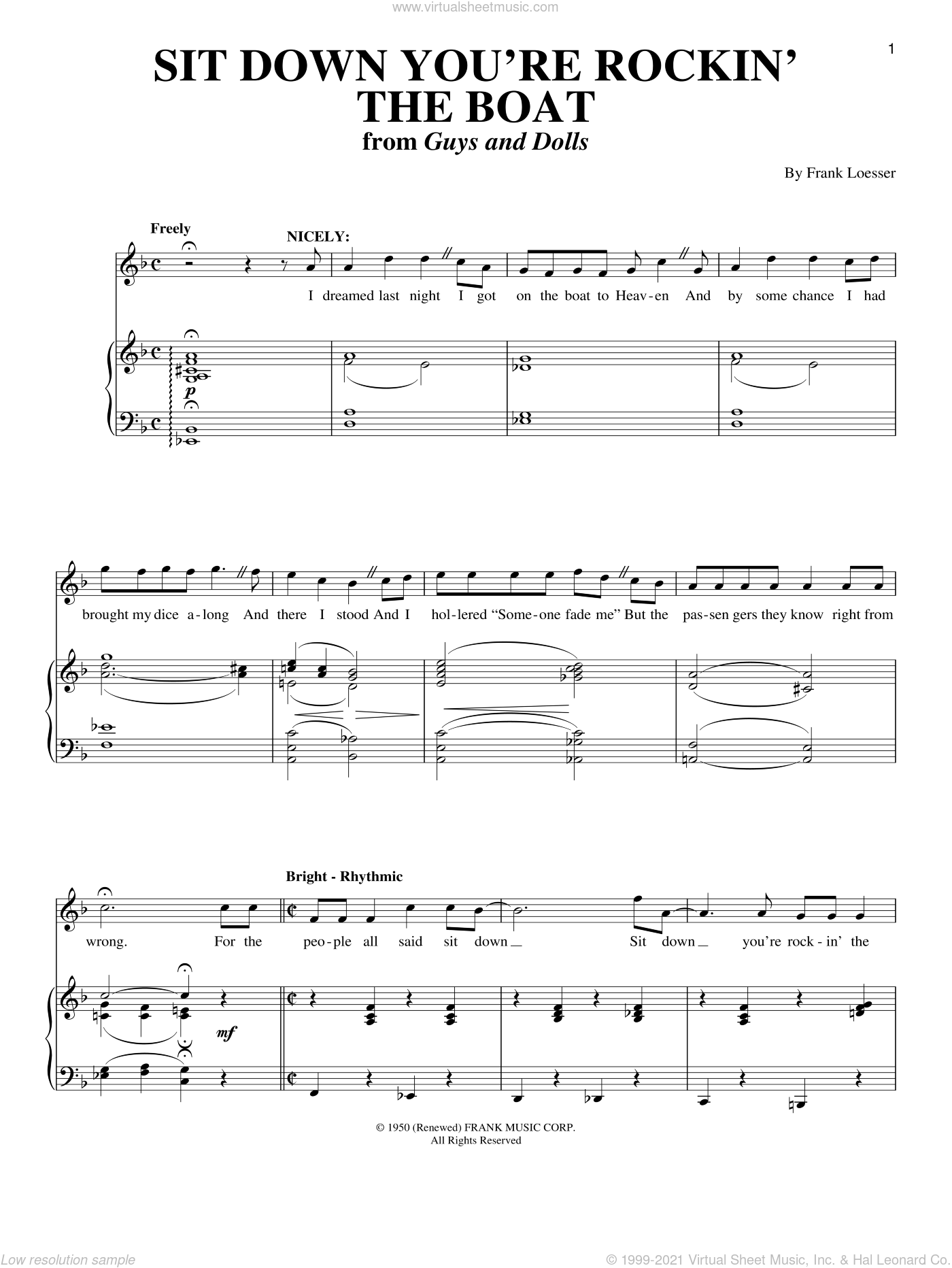 Sit Down You're Rockin' The Boat sheet music for voice and piano by Frank Loesser and Guys And Dolls (Musical), intermediate skill level