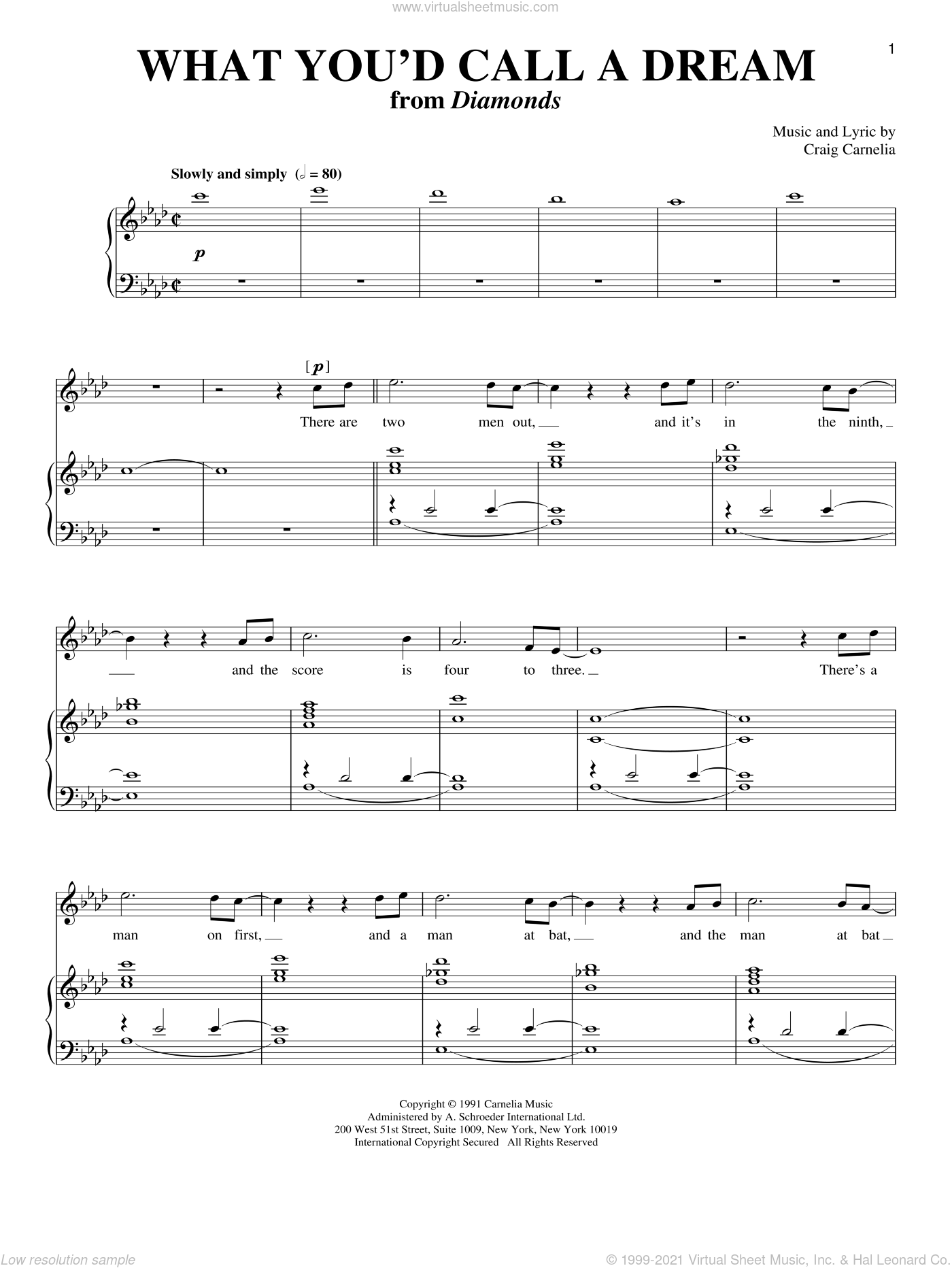 What You'd Call A Dream sheet music for voice and piano by Craig Carnelia. Score Image Preview.