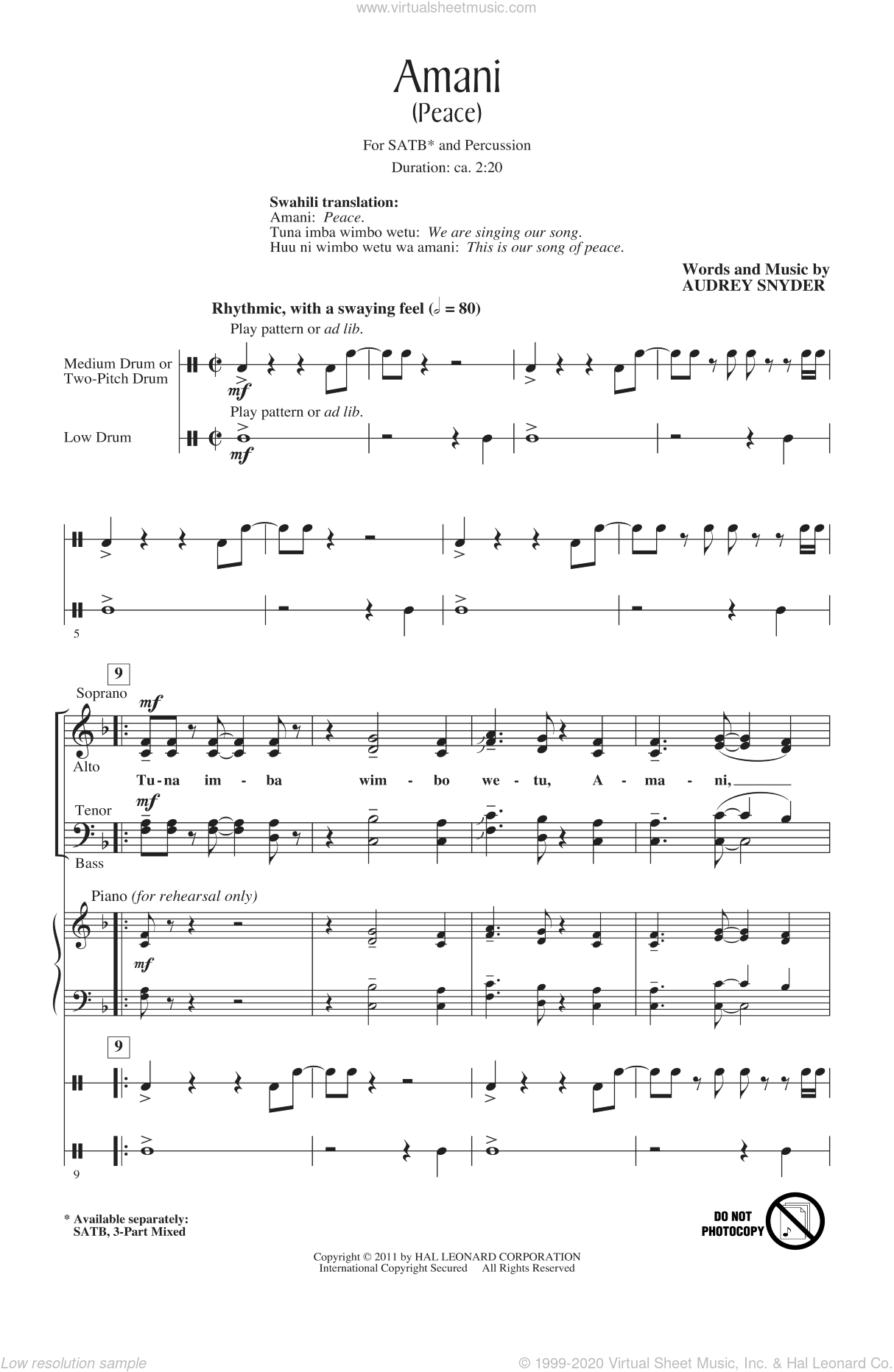 Amani (Peace) sheet music for choir (SATB: soprano, alto, tenor, bass) by Audrey Snyder, intermediate skill level
