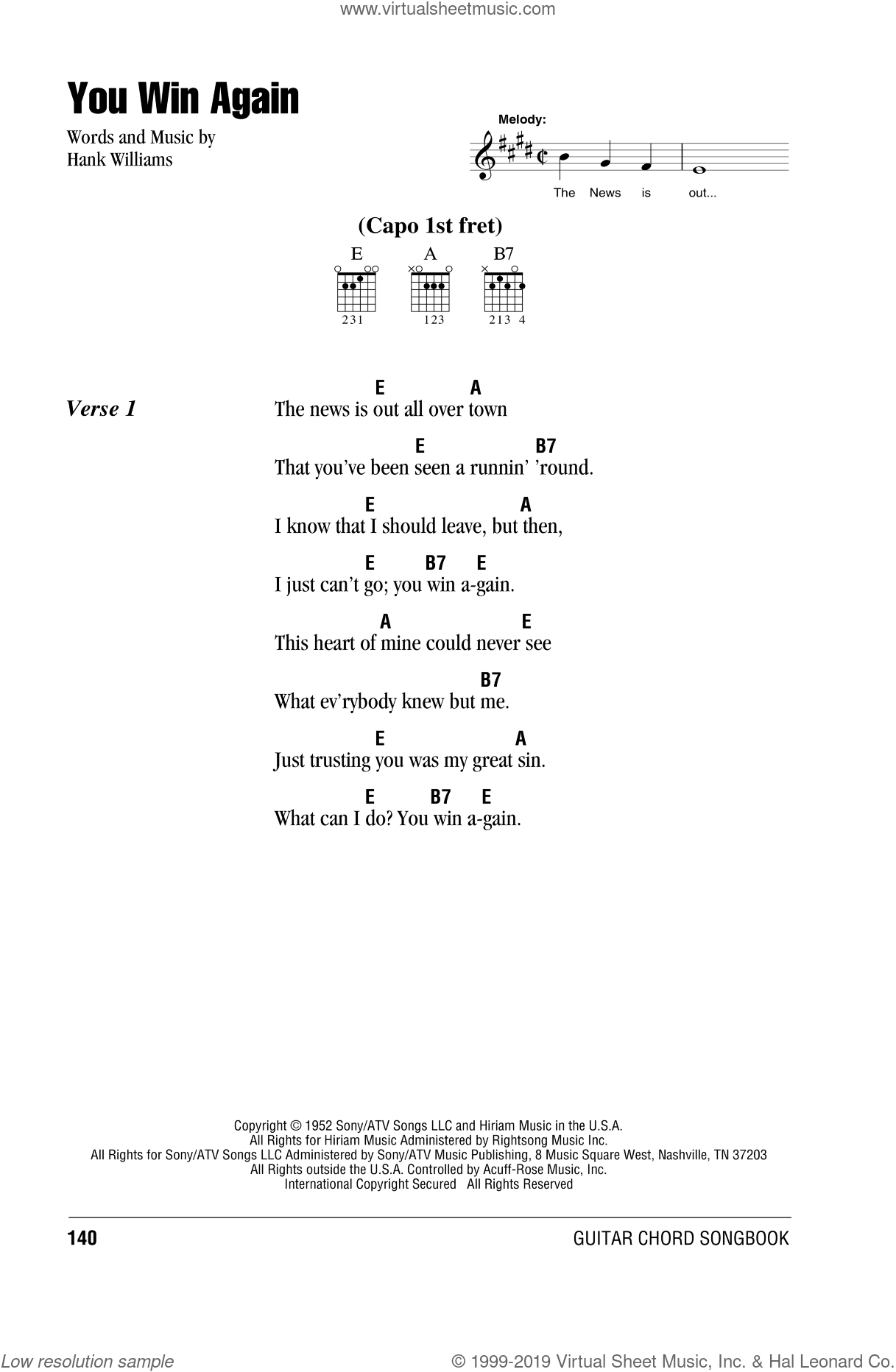 You Win Again sheet music for guitar (chords) by Johnny Cash and Hank Williams. Score Image Preview.