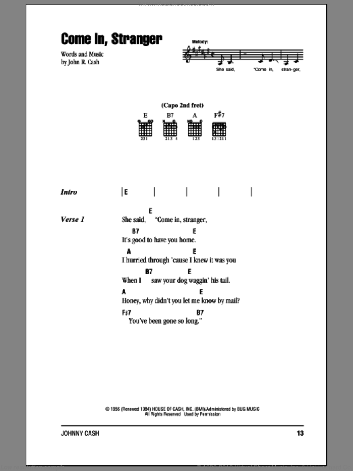 Come In, Stranger sheet music for guitar (chords) by Johnny Cash, intermediate skill level