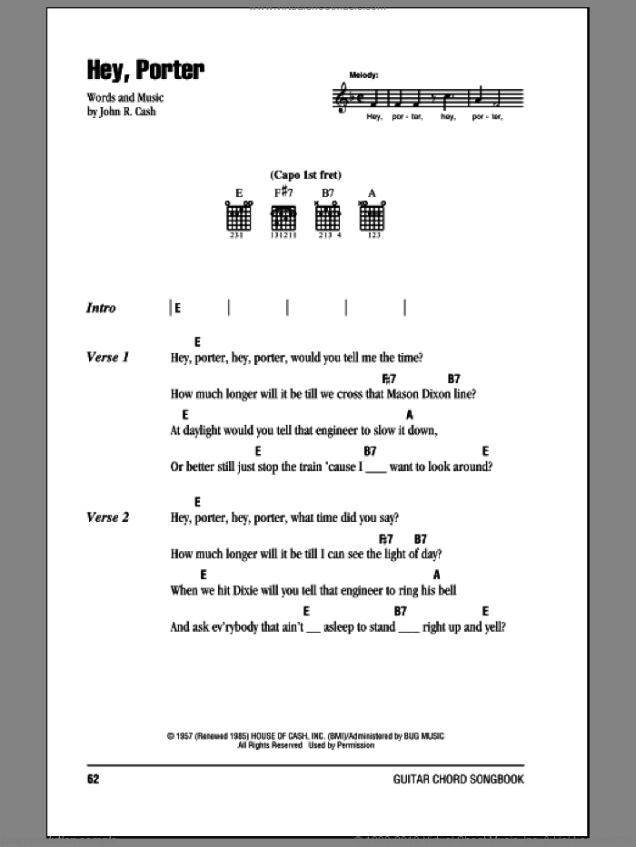 Hey, Porter sheet music for guitar (chords) by Johnny Cash. Score Image Preview.