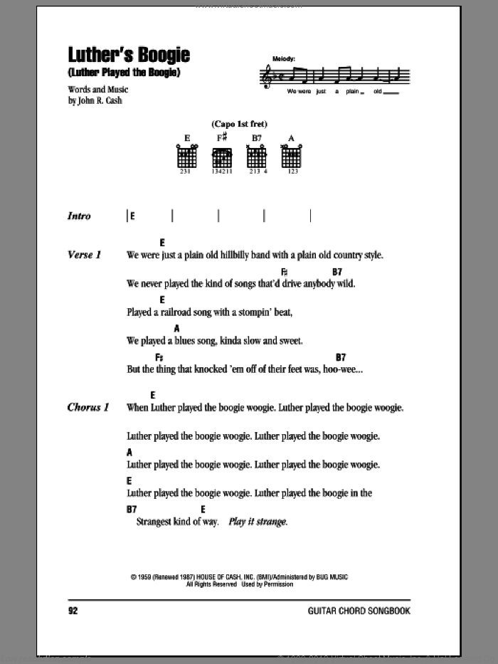Luther's Boogie (Luther Played The Boogie) sheet music for guitar (chords) by Johnny Cash. Score Image Preview.