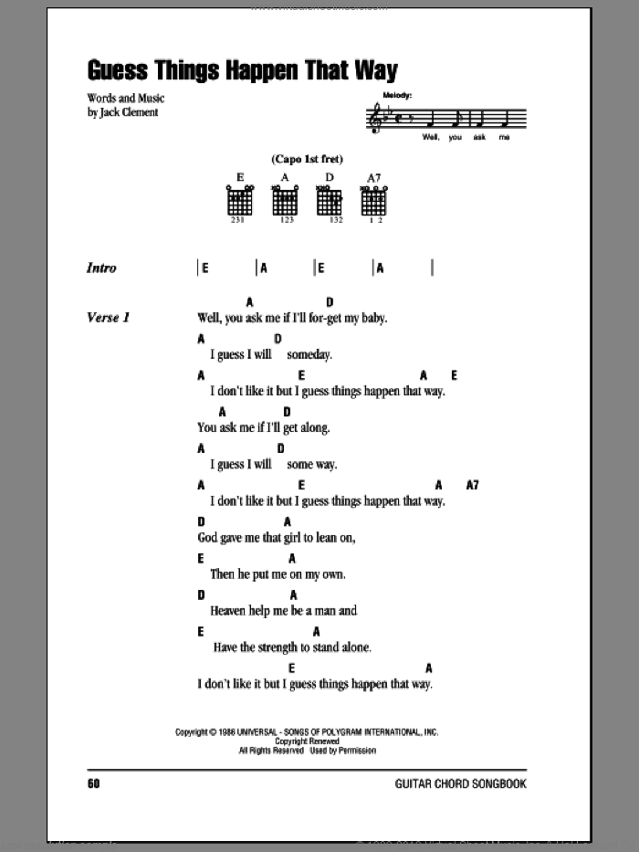 Guess Things Happen That Way sheet music for guitar (chords, lyrics, melody) by Jack Clement
