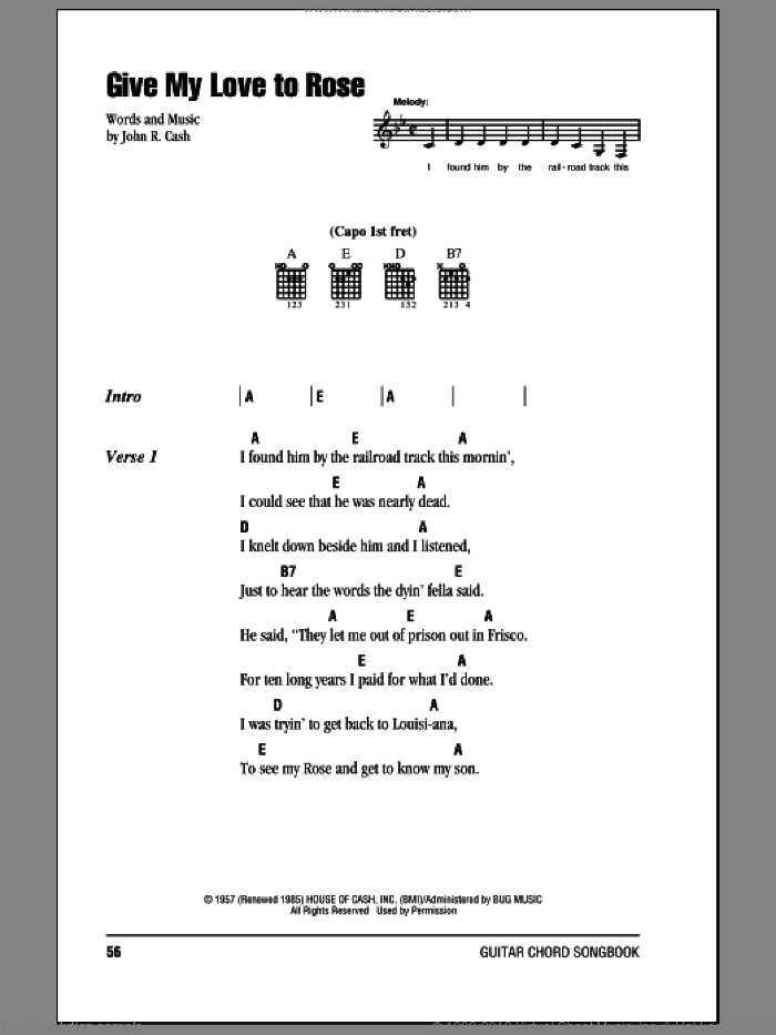 Give My Love To Rose sheet music for guitar (chords) by Johnny Cash, intermediate. Score Image Preview.