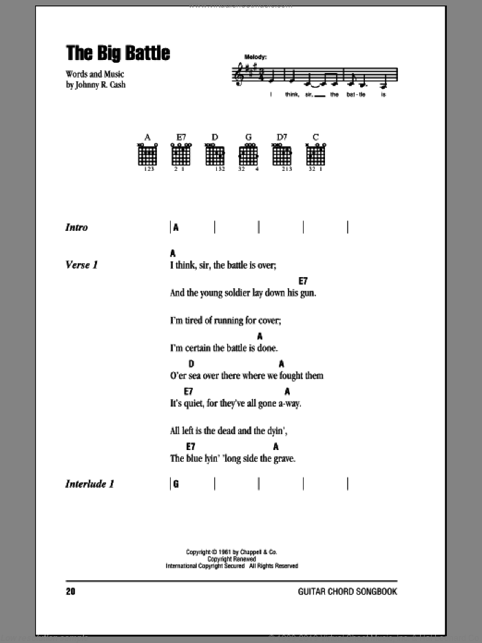 The Big Battle sheet music for guitar (chords) by Johnny Cash, intermediate guitar (chords). Score Image Preview.