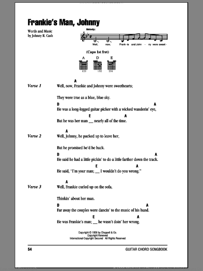 Frankie's Man, Johnny sheet music for guitar (chords) by Johnny Cash, intermediate. Score Image Preview.