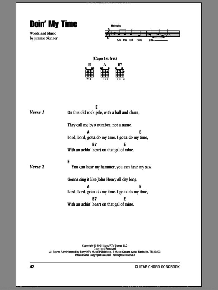 Doin' My Time sheet music for guitar (chords) by Johnny Cash and Jimmie Skinner
