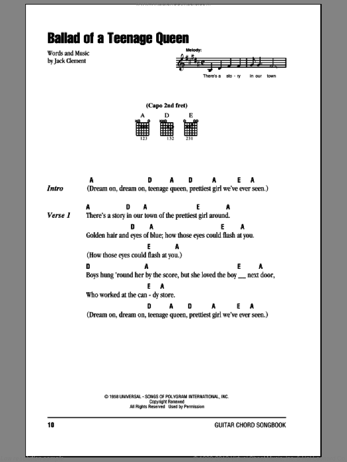 Ballad Of A Teenage Queen sheet music for guitar (chords) by Johnny Cash and Jack Clement, intermediate. Score Image Preview.