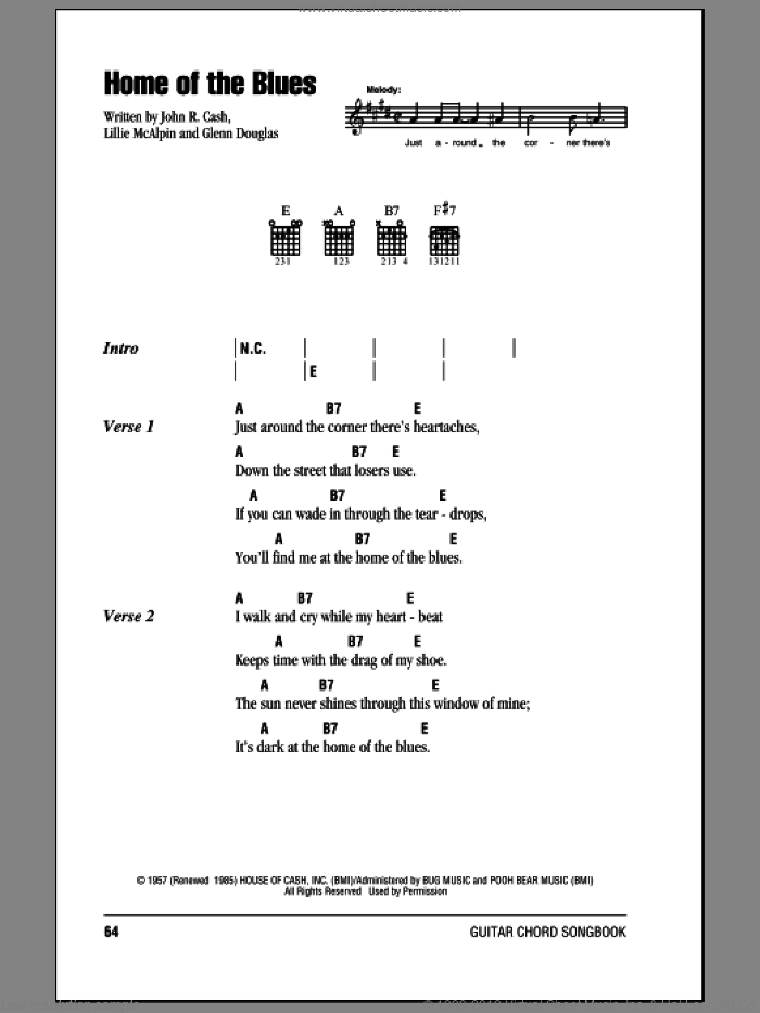 Home Of The Blues sheet music for guitar (chords) by Lillie McAlpin and Johnny Cash. Score Image Preview.