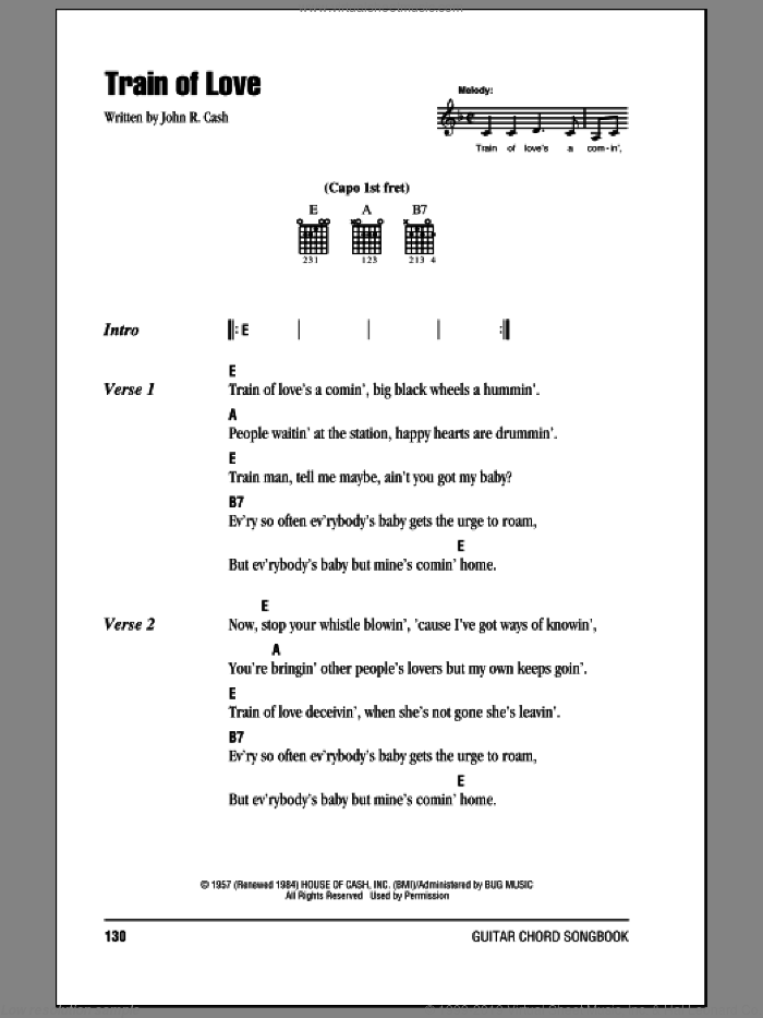 Train Of Love sheet music for guitar (chords) by Johnny Cash, intermediate. Score Image Preview.