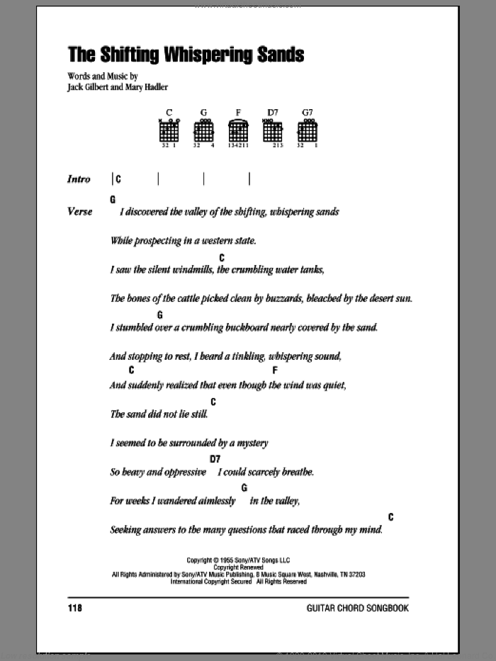 The Shifting Whispering Sands sheet music for guitar (chords) by Johnny Cash, Jack Gilbert and Mary Hadler, intermediate skill level