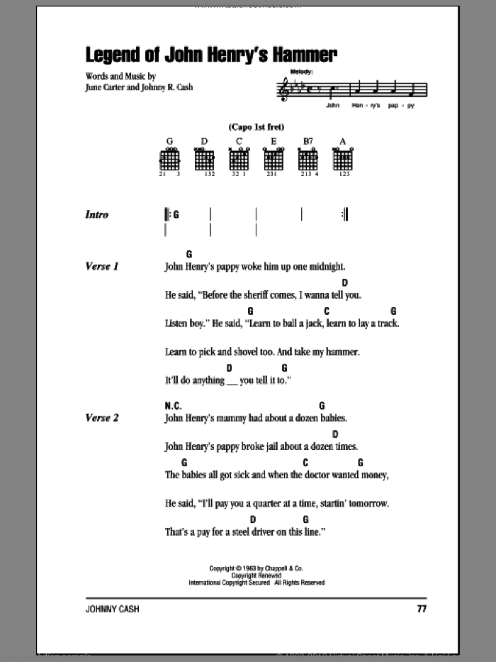 Legend Of John Henry's Hammer sheet music for guitar (chords) by June Carter and Johnny Cash. Score Image Preview.