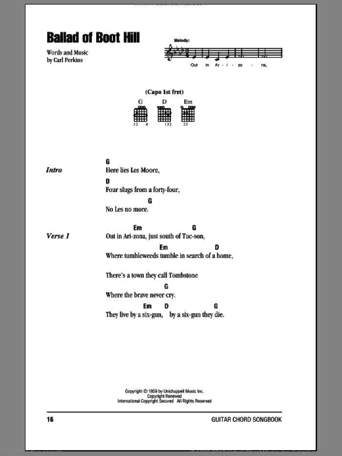Ballad Of Boot Hill sheet music for guitar solo (chords, lyrics, melody) by Johnny Cash