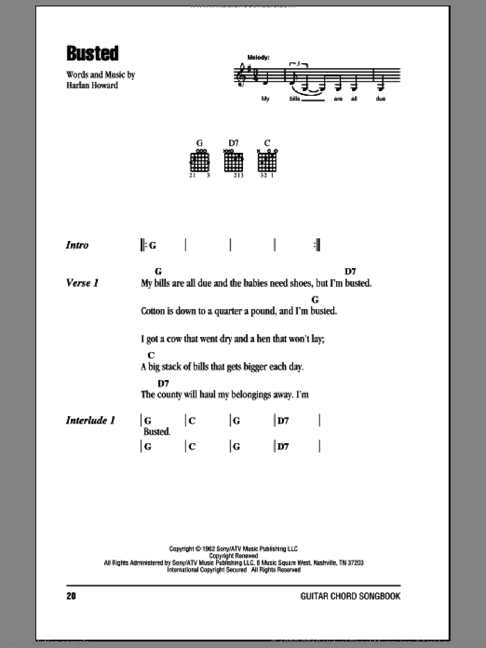 Busted sheet music for guitar (chords) by Johnny Cash and Harlan Howard. Score Image Preview.