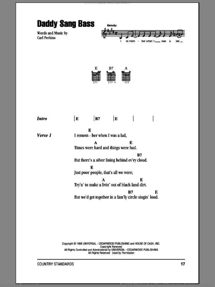 Daddy Sang Bass sheet music for guitar (chords) by Johnny Cash and Carl Perkins, intermediate. Score Image Preview.