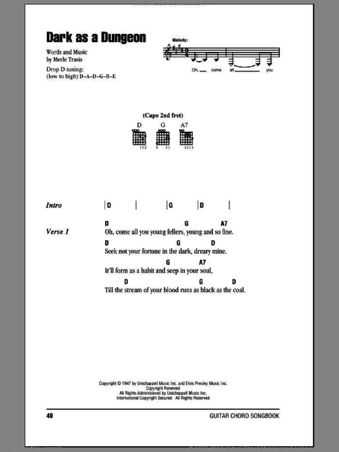 Dark As A Dungeon sheet music for guitar (chords) by Johnny Cash and Merle Travis. Score Image Preview.