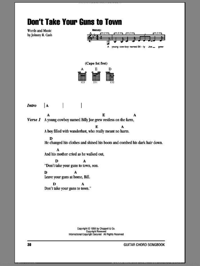 Don't Take Your Guns To Town sheet music for guitar (chords) by Johnny Cash, intermediate. Score Image Preview.