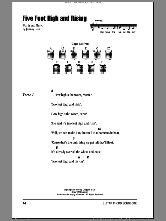 Five Feet High And Rising sheet music for guitar (chords) by Johnny Cash. Score Image Preview.