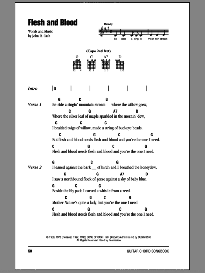 Flesh And Blood sheet music for guitar (chords) by Johnny Cash, intermediate. Score Image Preview.