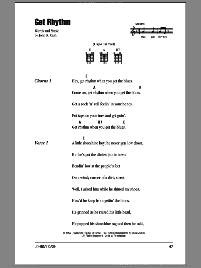 Get Rhythm sheet music for guitar (chords) by Johnny Cash. Score Image Preview.
