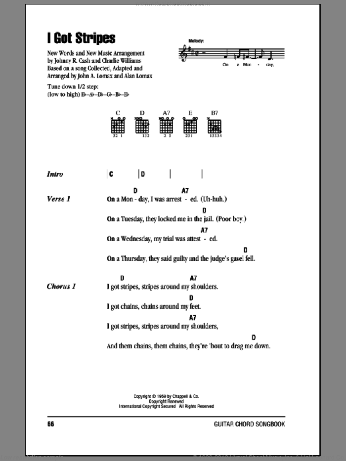 I Got Stripes sheet music for guitar (chords) by Charles Williams, John A. Lomax and Johnny Cash