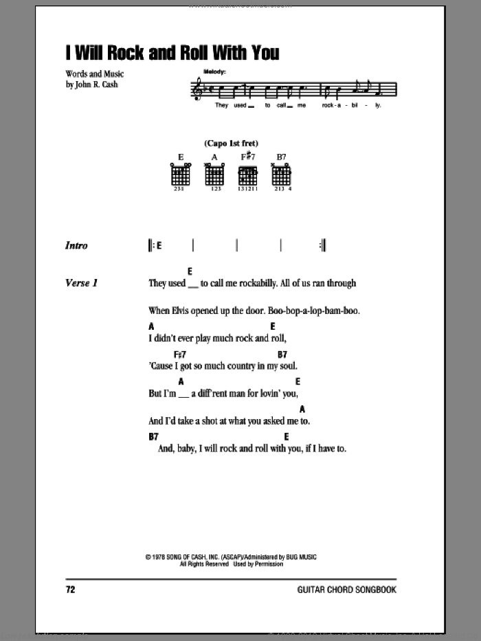 I Will Rock And Roll With You sheet music for guitar (chords) by Johnny Cash, intermediate
