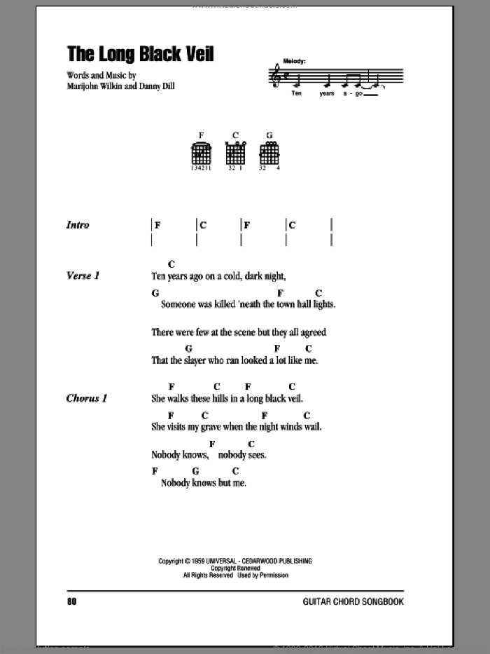 The Long Black Veil sheet music for guitar (chords) by Johnny Cash and Marijohn Wilkin. Score Image Preview.
