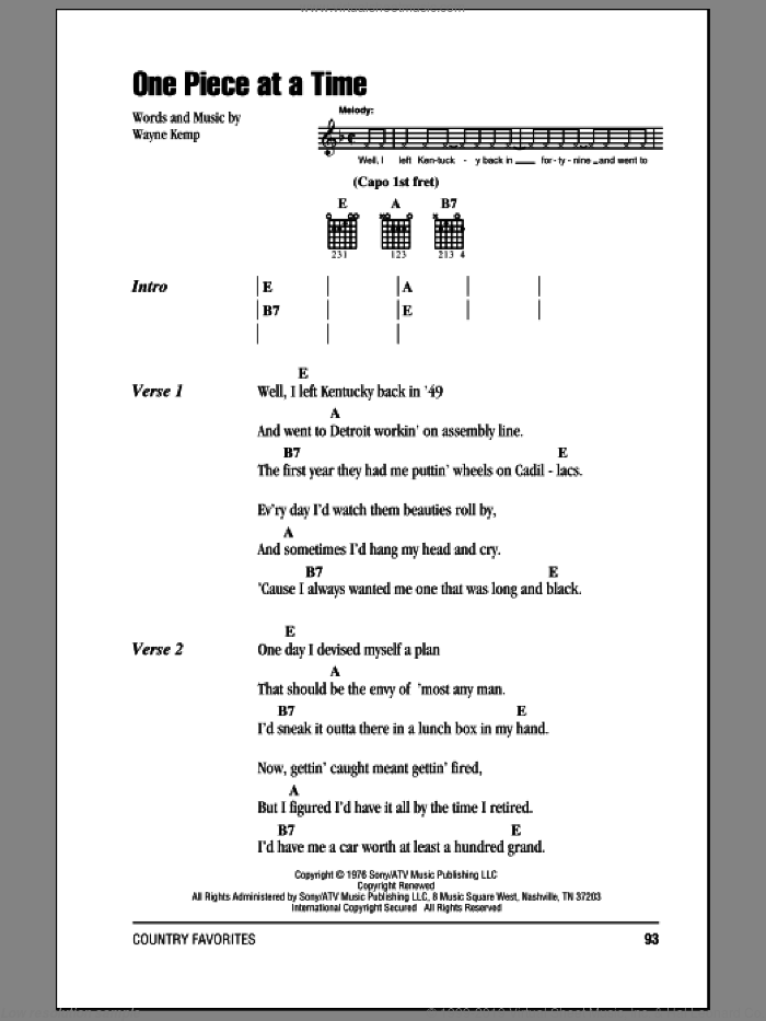 One Piece At A Time sheet music for guitar (chords) by Wayne Kemp and Johnny Cash. Score Image Preview.