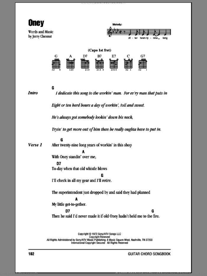 Oney sheet music for guitar (chords) by Jerry Chesnut