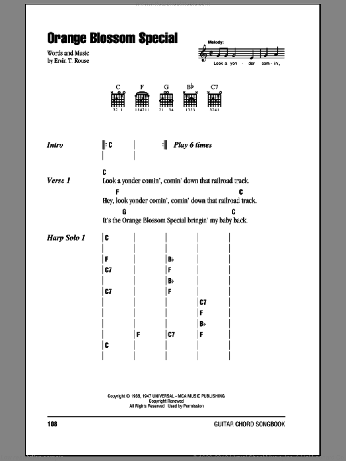 Cash Orange Blossom Special Sheet Music For Guitar Chords