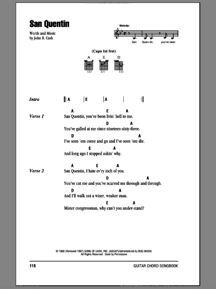 San Quentin sheet music for guitar (chords) by Johnny Cash, intermediate guitar (chords). Score Image Preview.
