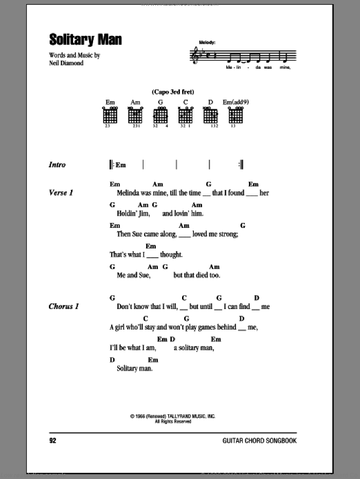Solitary Man sheet music for guitar (chords) by Neil Diamond and Johnny Cash, intermediate skill level