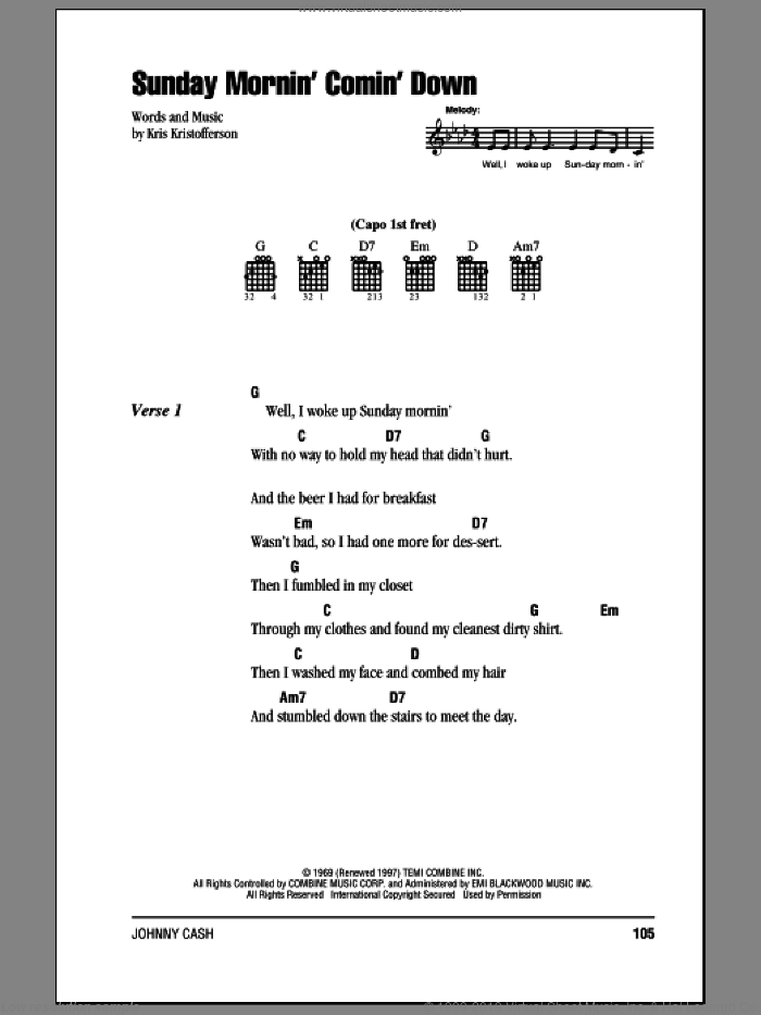 Sunday Mornin' Comin' Down sheet music for guitar (chords) by Johnny Cash and Kris Kristofferson