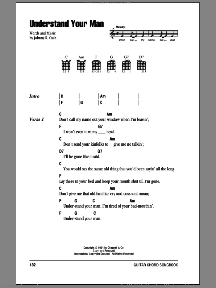 Understand Your Man sheet music for guitar (chords) by Johnny Cash, intermediate skill level