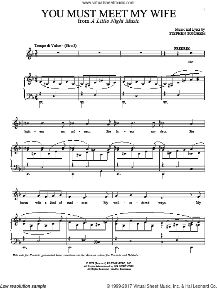 Broadway Selections from A Little Night Music (complete set of parts) sheet music for voice and piano by Stephen Sondheim and A Little Night Music (Musical), intermediate skill level