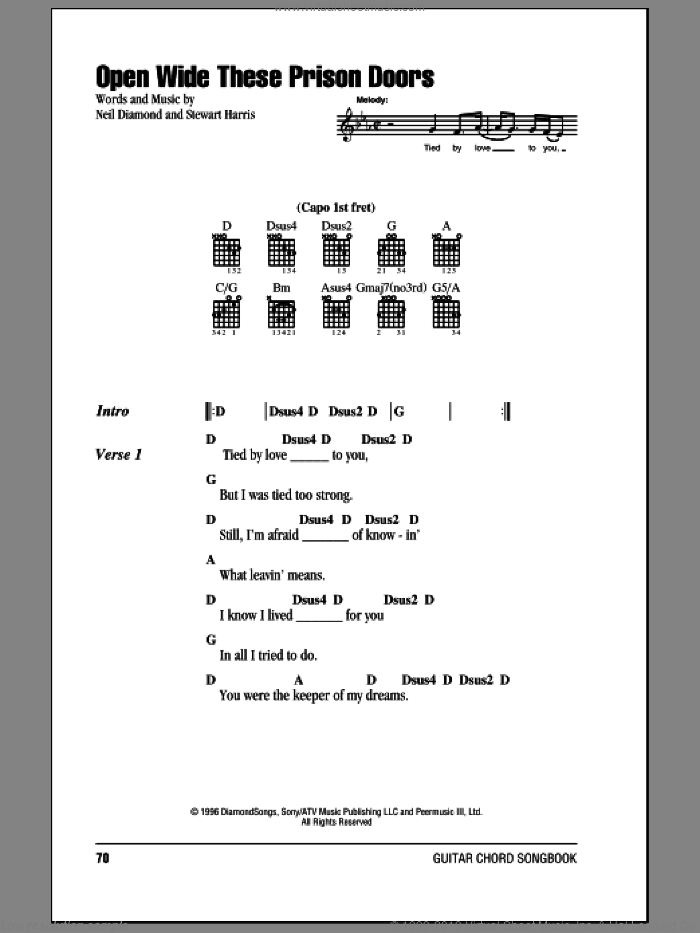 Open Wide These Prison Doors sheet music for guitar (chords) by Stewart Harris and Neil Diamond. Score Image Preview.