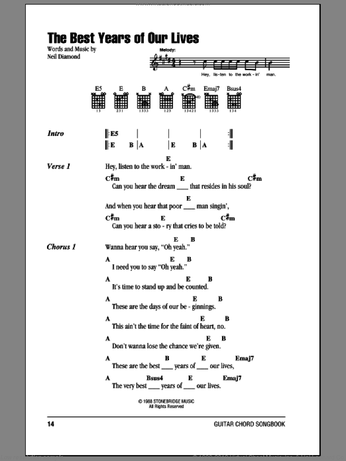 The Best Years Of Our Lives sheet music for guitar (chords) by Neil Diamond, intermediate skill level