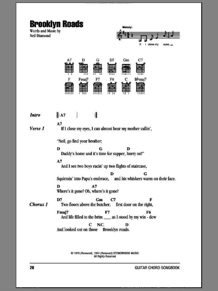 Brooklyn Roads sheet music for guitar (chords) by Neil Diamond. Score Image Preview.