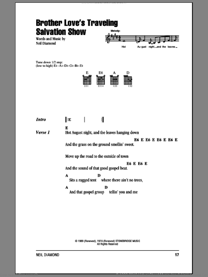Brother Love's Traveling Salvation Show sheet music for guitar (chords) by Neil Diamond. Score Image Preview.