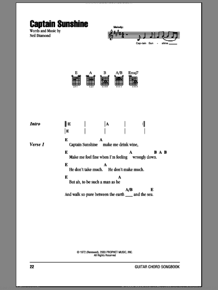 Captain Sunshine sheet music for guitar (chords) by Neil Diamond, intermediate skill level